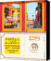 Powell Street Digital Art Canvas Prints - San Francisco Cablecar 28 . Chinatown Canvas Print by Wingsdomain Art and Photography