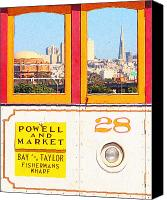 Powell Street Digital Art Canvas Prints - San Francisco Cablecar 28 . Downtown San Francisco Viewed From Crissy Fields Canvas Print by Wingsdomain Art and Photography
