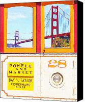 Powell Street Digital Art Canvas Prints - San Francisco Cablecar 28 . Golden Gate Bridge Canvas Print by Wingsdomain Art and Photography