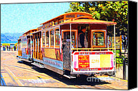 Old Digital Art Canvas Prints - San Francisco Cablecar At Fishermans Wharf . 7D14097 Canvas Print by Wingsdomain Art and Photography