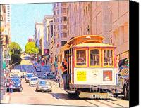 Powell Street Digital Art Canvas Prints - San Francisco Cablecar Coming Down Powell Street Canvas Print by Wingsdomain Art and Photography