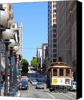 Trolley Canvas Prints - San Francisco Cablecar on Powell Street Canvas Print by Wingsdomain Art and Photography