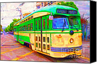 Gay Digital Art Canvas Prints - San Francisco F-Line Trolley Canvas Print by Wingsdomain Art and Photography