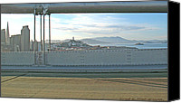 Golden Gate Bridge Tower Blue Sky Canvas Prints - San Francisco From The Bay Bridge Canvas Print by Carl Deaville