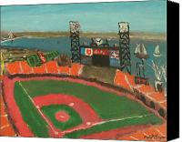 San Francisco Giants Painting Canvas Prints - San Francisco Giants Stadium Canvas Print by Kyle McGuigan