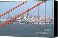 Structural Canvas Prints - San Francisco in The Distance Through The Golden Gate Bridge . 7D14538 Canvas Print by Wingsdomain Art and Photography