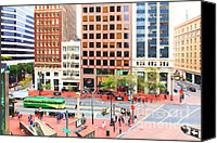 Hotels Digital Art Canvas Prints - San Francisco Market Street - 5D17877 - Painterly Canvas Print by Wingsdomain Art and Photography