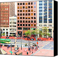 Hotels Digital Art Canvas Prints - San Francisco Market Street - 5D17877 - Square - Painterly Canvas Print by Wingsdomain Art and Photography
