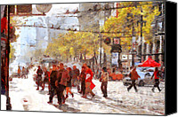 City Streets Canvas Prints - San Francisco Market Street . 40D3701 Canvas Print by Wingsdomain Art and Photography