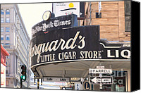 Crosswalk Digital Art Canvas Prints - San Francisco Marquards Little Cigar Store on Powell and OFarrell Streets - 5D17954 - Painterly Canvas Print by Wingsdomain Art and Photography