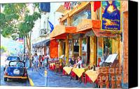 City Streets Canvas Prints - San Francisco North Beach Outdoor Dining Canvas Print by Wingsdomain Art and Photography