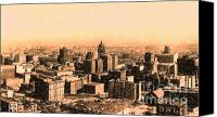 Skylines Canvas Prints - San Francisco Skyline 1909 showing South of Market Street Canvas Print by Wingsdomain Art and Photography