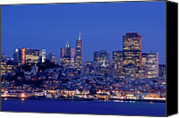 San Francisco Photo Canvas Prints - San Francisco Skyline At Dusk Canvas Print by David Rout