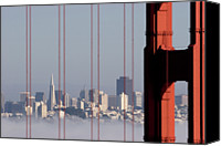 San Francisco Photo Canvas Prints - San Francisco Skyline From Golden Gate Bridge Canvas Print by Mona T. Brooks