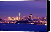 Long Pyrography Canvas Prints - San Francisco Skyline Canvas Print by Kevin Ho