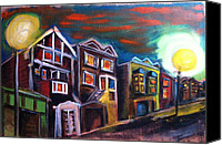 Townhomes Canvas Prints - San Francisco Street Canvas Print by Nathalie Fabri