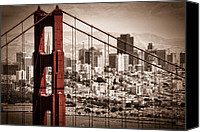 Red Canvas Prints - San Francisco through the Bridge Canvas Print by Matt  Trimble