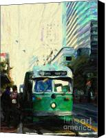 City Streets Canvas Prints - San Francisco Trolley F Line On Market Street Canvas Print by Wingsdomain Art and Photography