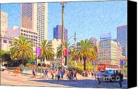 Powell Street Digital Art Canvas Prints - San Francisco Union Square Canvas Print by Wingsdomain Art and Photography