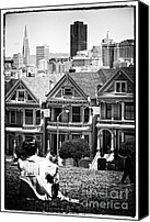 Painted Ladies Canvas Prints - San Francisco View ll - black and white Canvas Print by Hideaki Sakurai