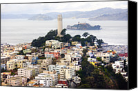 San Francisco Photo Canvas Prints - San Franciscos Coit Tower Canvas Print by Thomas Hawk