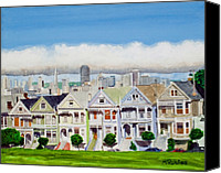 Painted Ladies Canvas Prints - San Franciscos Painted Ladies Canvas Print by Mike Robles