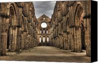 Tuscany Canvas Prints - San Galgano  - a ruin of an old monastery with no roof Canvas Print by Joana Kruse