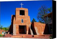 Santa Fe Canvas Prints - San Miguel Chapel in Santa Fe Canvas Print by Susanne Van Hulst