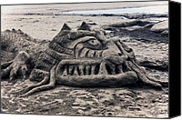 Sandy Beach Canvas Prints - Sand dragon sculputure Canvas Print by Garry Gay