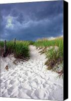 Sandy Canvas Prints - Sand Dune under Storm Canvas Print by Olivier Le Queinec