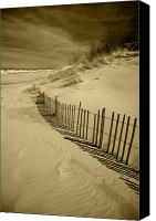 Sand Fences Canvas Prints - Sand Dunes and Fence Canvas Print by Timothy Johnson