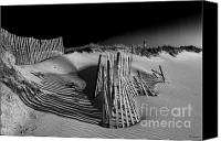 Beach Photograph Photo Canvas Prints - Sand Fence Canvas Print by Jim Dohms