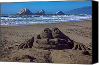 Sandy Beach Canvas Prints - Sand frog  Canvas Print by Garry Gay