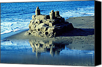 Tide Canvas Prints - Sandcastle on beach Canvas Print by Garry Gay