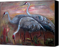 Susan Hanlon Canvas Prints - Sandhill Cranes Canvas Print by Susan Hanlon