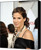 Lip Gloss Canvas Prints - Sandra Bullock Wearing Lanvin Necklaces Canvas Print by Everett