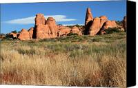 Utah Canvas Prints - Sandstone formation in Arches national Park Canvas Print by Pierre Leclerc