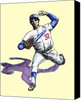 Baseball Drawings Canvas Prints - Sandy Koufax Canvas Print by Mel Thompson