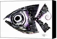 Aboriginal Art Painting Canvas Prints - Sanity Fish IX Canvas Print by J Vincent Scarpace
