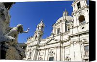 Church Photos Canvas Prints - Sant Agnese in Agone. Piazza Navona. Rome Canvas Print by Bernard Jaubert
