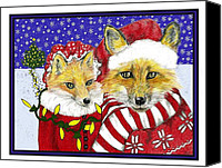 Fox Pastels Canvas Prints - Santa and Ms Fox Canvas Print by Marla Saville