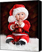 Father Christmas Digital Art Canvas Prints - Santa Baby Canvas Print by Garry West