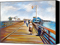 Water Pastels Canvas Prints - Santa Barbara Pier Canvas Print by Filip Mihail