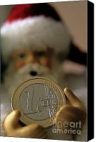Father Christmas Canvas Prints - Santa Claus doll holding out a euro coin Canvas Print by Sami Sarkis