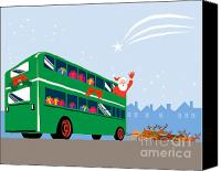 Santa Claus Canvas Prints - Santa Claus Double Decker Bus Canvas Print by Aloysius Patrimonio