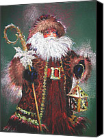 Santa Claus Canvas Prints - Santa Claus -Dressed All in Fur From His Head to His Foot. Canvas Print by Shelley Schoenherr