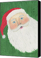 Santa Claus Drawings Canvas Prints - Santa Claus Canvas Print by Jessica Hallberg