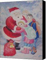 Winter Prints Drawings Canvas Prints - Santa Claus Canvas Print by Morgan Walsh