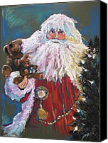 Tree Pastels Canvas Prints - SANTA CLAUS Santa of the Tree Canvas Print by Shelley Schoenherr