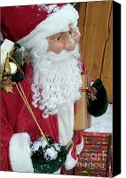 Father Christmas Canvas Prints - Santa Claus toy standing next to Christmas presents Canvas Print by Sami Sarkis
